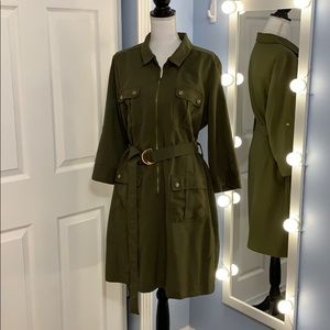 dressbarn Army Green Zip Pocket Dress